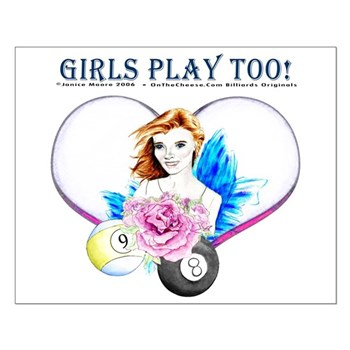 Girls Play Pool Too Rose Fairy Small Poster