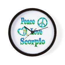 Peace Love Scorpio Wall Clock
