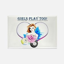 Girls Play Pool Too Rectangle Magnet
