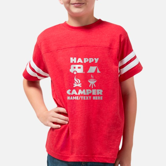 Happy Camper Personalized Youth Football Shirt