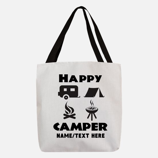 Happy Camper Personalized Polyester Tote Bag