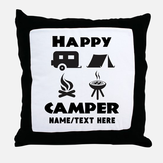 Happy Camper Personalized Throw Pillow