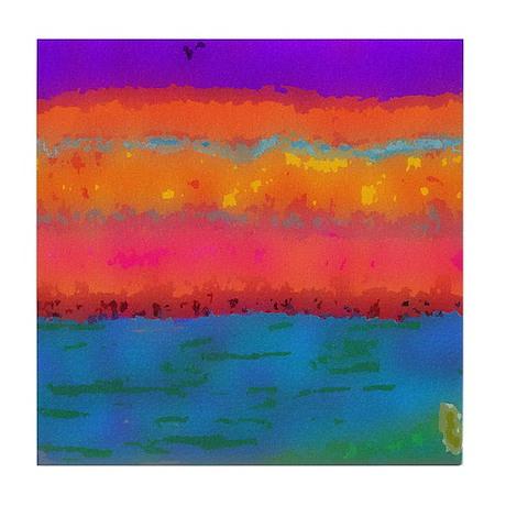 sunset on lake IV Tile Coaster