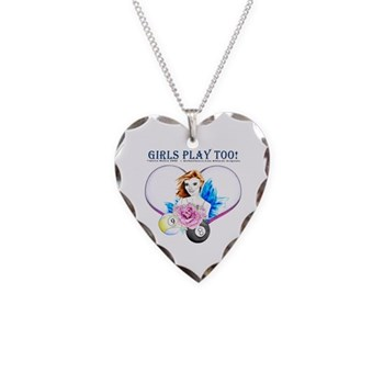 Girls Play Pool Too Rose Fairy Billiards Necklace