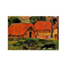 Gauguin: The Three Huts Rectangle Magnet