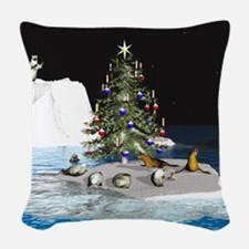Christmas at the North Pole Woven Throw Pillow