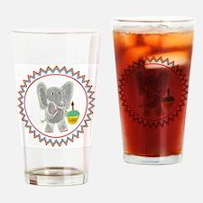 Elephant Cupcake Zig Zag Drinking Glass