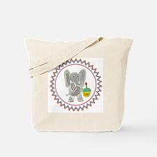 Elephant Cupcake Zig Zag Tote Bag
