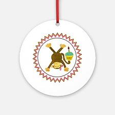 Tumbling Monkey Girl Cupcake Zig Za Round Ornament