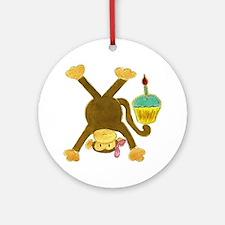 Tumbling Monkey Pink Bow Cupcake Round Ornament