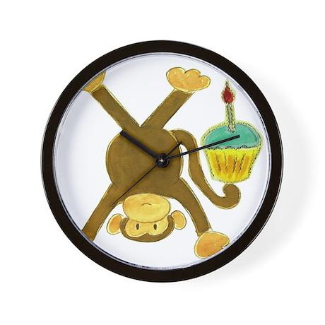 Tumbling Monkey Cupcake Wall Clock