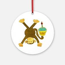Tumbling Monkey Cupcake Round Ornament