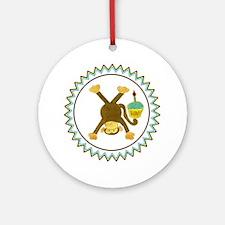 Tumbling Monkey Cupcake Zig Zag Round Ornament