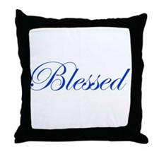 Blue Blessed Throw Pillow