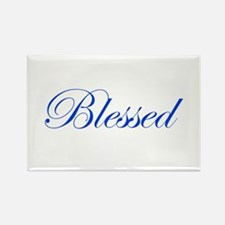 Blue Blessed Rectangle Magnet