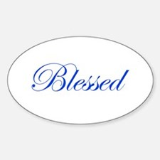 Blue Blessed Oval Decal