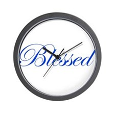 Blue Blessed Wall Clock