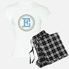 Letter E Blue Yellow Brown  Pajamas