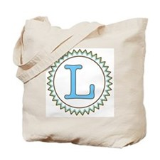 Letter L Blue Yellow Brown Tote Bag