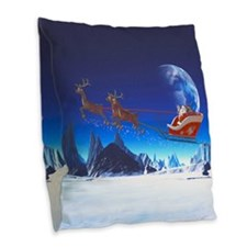 Santa Claus Burlap Throw Pillow