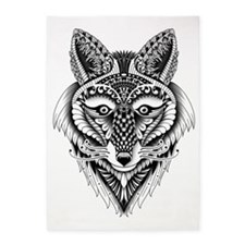 Ornate Foxy Wolf 5'x7'Area Rug
