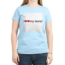 I heart my twins red Women's Pink T-Shirt
