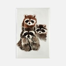 Cute Watercolor Raccoon Animal Family Magnets