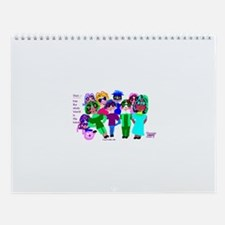 Cartoon-Big Eyed Sunglasses Kids Wall Calendar