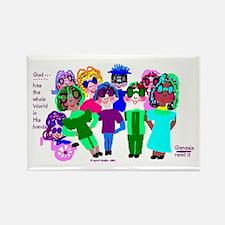 Cartoon-Big Eyed Sunglasses Kids Rectangle Magnet