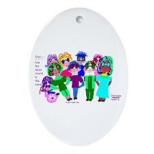 Cartoon-Big Eyed Sunglasses Kids Ornament (Oval)