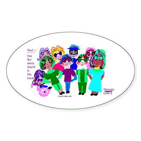 Cartoon-Big Eyed Sunglasses Kids Sticker (Oval)
