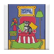 """Sitting Pretty"" Schnauzer Tile Coaster"