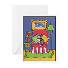 """Sitting Pretty"" Schnauzer GreetingCards Packof 6)"