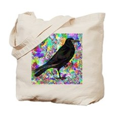 Crow With Colorful Abstract Background Tote Bag