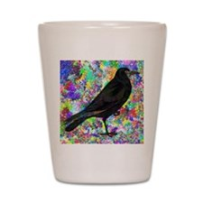 Crow With Colorful Abstract Background Shot Glass