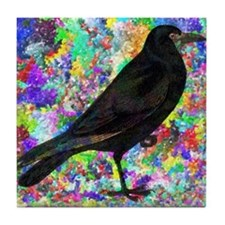 Crow With Colorful Abstract Backgroun Tile Coaster