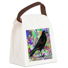 Crow With Colorful Abstract Backg Canvas Lunch Bag