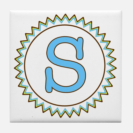 Letter S Blue Yellow Brown Zig Zag Tile Coaster