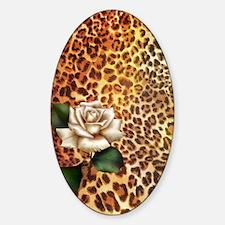 rose leopard print  Sticker (Oval)