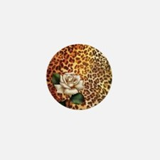 rose leopard print  Mini Button