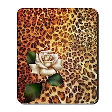 rose leopard print  Mousepad