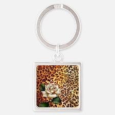 rose leopard print  Square Keychain