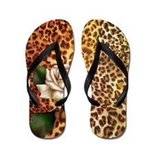rose leopard print  Flip Flops