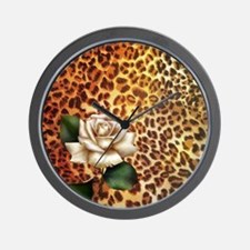 rose leopard print  Wall Clock
