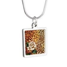 rose leopard print  Silver Square Necklace