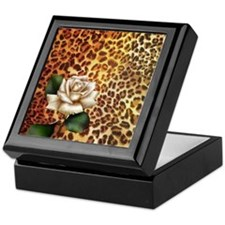 rose leopard print  Keepsake Box