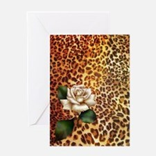 rose leopard print  Greeting Card