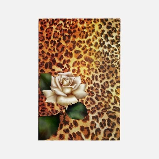 rose leopard print  Rectangle Magnet