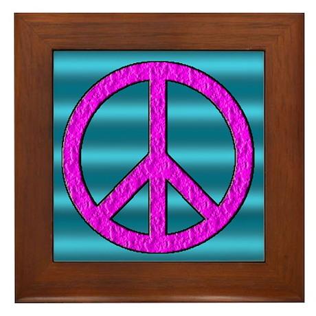Peace Symbol Sign Framed Tile