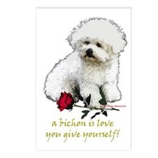 Bichon Frise Valentine Rose Postcards (Package of